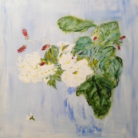 (CreativeWork) White rose in blue vase by jin Jin. Acrylic Paint. Shop online at Bluethumb.