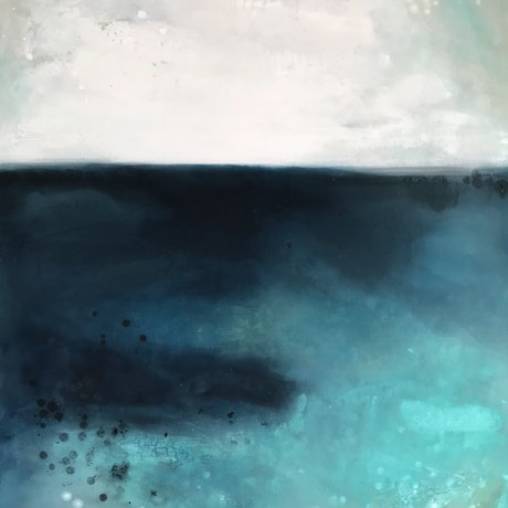(CreativeWork) Aqua Waters by Kathleen Rhee. Acrylic Paint. Shop online at Bluethumb.