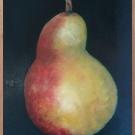 (CreativeWork) The Posing Pear- Framed  by Maria Cross. Oil Paint. Shop online at Bluethumb.