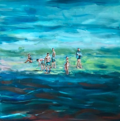 (CreativeWork) By The Sea by Sara Roberts. Oil Paint. Shop online at Bluethumb.