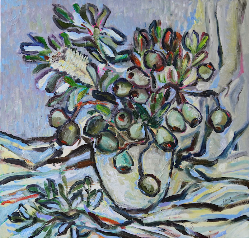 (CreativeWork) Gumnuts by Katerina Apale. Oil Paint. Shop online at Bluethumb.