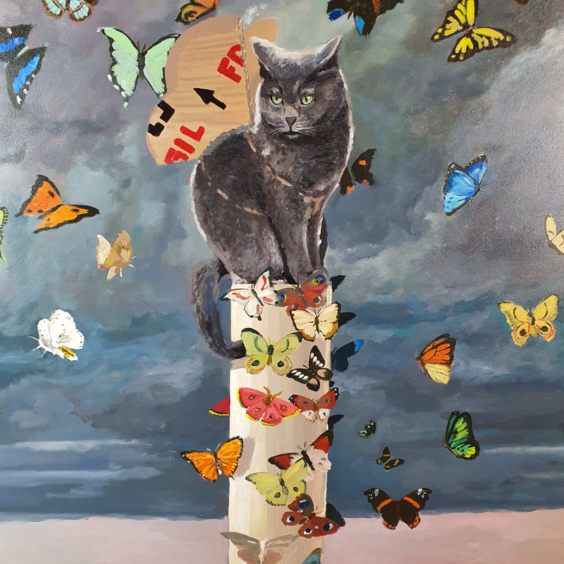 (CreativeWork) Cats dream, 107cm x 107cm. the dream of a cat with cardboard wings by Cristian Frost. Acrylic Paint. Shop online at Bluethumb.
