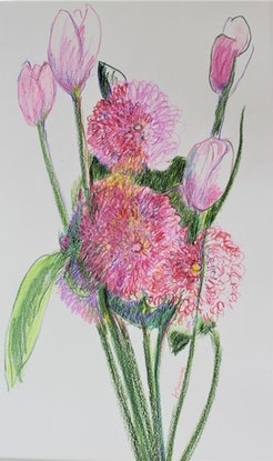 (CreativeWork) Dahlias and Tulips by Heidi Savage. Other Media. Shop online at Bluethumb.
