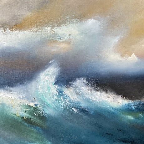 (CreativeWork) May Storm, City Beach by Joanne Duffy. Oil Paint. Shop online at Bluethumb.