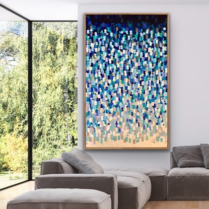 (CreativeWork) Alto e blu 122x200 tall framed large textured abstract by Sophie Lawrence. Acrylic Paint. Shop online at Bluethumb.