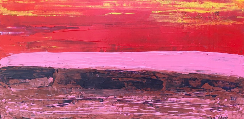 (CreativeWork) Sunset Pink - textured artist's acrylic painting by Tina Barr. Acrylic Paint. Shop online at Bluethumb.