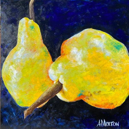 (CreativeWork) Two pears by Amanda Morton. Acrylic Paint. Shop online at Bluethumb.