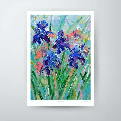(CreativeWork) Blue Irises - A3 Print Ed. 3 of 50 by Joseph Villanueva. Print. Shop online at Bluethumb.