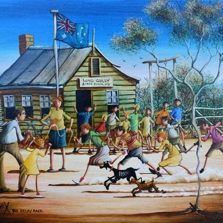 (CreativeWork) The Relay Race by Max Mannix. Oil Paint. Shop online at Bluethumb.