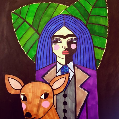 (CreativeWork) Frida in suit with Deer  by jane ruggiero. Drawings. Shop online at Bluethumb.