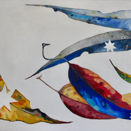 (CreativeWork) 'They land upon common ground' by Jackie Moss. Oil Paint. Shop online at Bluethumb.