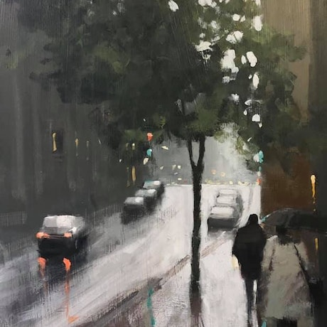 (CreativeWork) Rain on Flinders Lane - Rainy street scene of Melbourne by Mike Barr. Acrylic Paint. Shop online at Bluethumb.