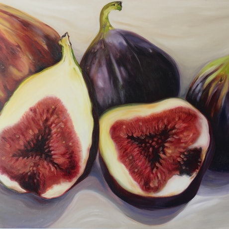 (CreativeWork) The Fig Lady by Jackie Moss. Oil Paint. Shop online at Bluethumb.