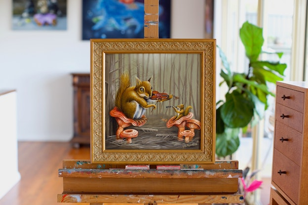 (CreativeWork) Saffron Forest | Squirrels and Mushrooms | surrealism by Yulia Pustoshkina. Oil Paint. Shop online at Bluethumb.