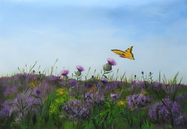 (CreativeWork) Wildflower Meadow by Lindy Whitton. Acrylic Paint. Shop online at Bluethumb.