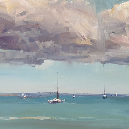 (CreativeWork) Seascape in Scarborough  by Minhan Cho. Oil Paint. Shop online at Bluethumb.