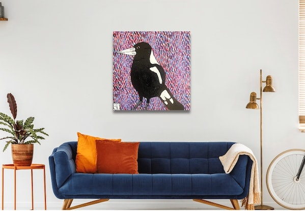 (CreativeWork) Mr Magpie by Sally Dunbar. Mixed Media. Shop online at Bluethumb.