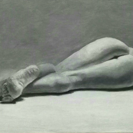 (CreativeWork)  Lying female nude  by Adela Vojnovic. Oil Paint. Shop online at Bluethumb.