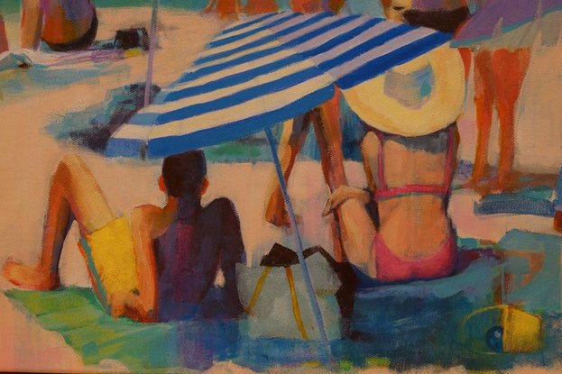 (CreativeWork) Beachscape by Sandra Michele Knight. Acrylic Paint. Shop online at Bluethumb.