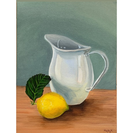 (CreativeWork) Still life with Jug and Lemon by Hayley Kruger. Acrylic Paint. Shop online at Bluethumb.