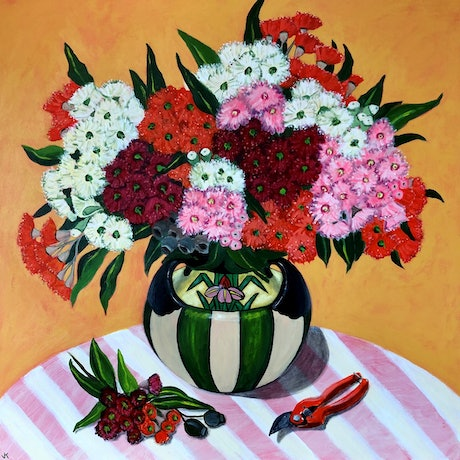 (CreativeWork) Gum Blossoms in Art Deco Vase by John Klein. Acrylic Paint. Shop online at Bluethumb.