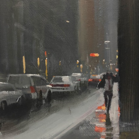 (CreativeWork) Caught on Flinders Lane - rainy-day Melbourne cityscape by Mike Barr. Acrylic Paint. Shop online at Bluethumb.