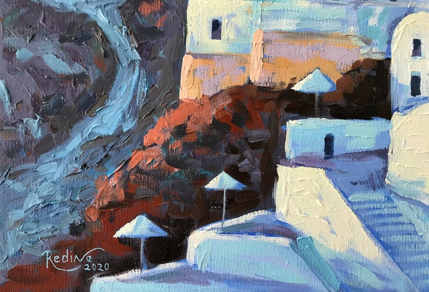 (CreativeWork) Santorini, Wind Mills in Oia at Sunset  by Irina Redine. Oil Paint. Shop online at Bluethumb.
