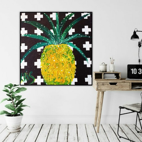 (CreativeWork) FUNKY PINEAPPLE  by Krissy McDougall. Acrylic Paint. Shop online at Bluethumb.