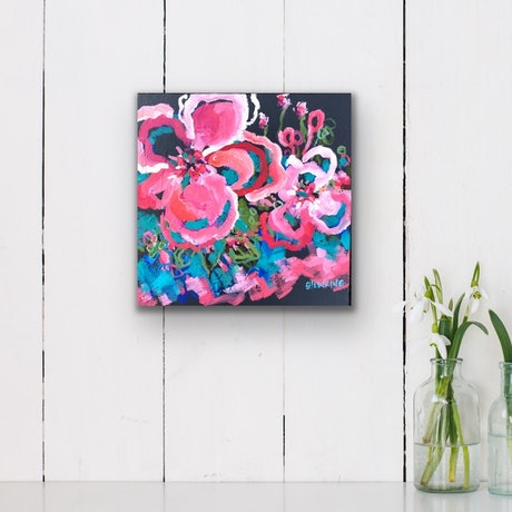(CreativeWork) Tropicana - Flowers Give Happiness by Jen Shewring. Acrylic Paint. Shop online at Bluethumb.