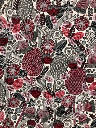 (CreativeWork) Red, Black and Grey Blooms - CZ20018 by Carol Zsolt. Acrylic Paint. Shop online at Bluethumb.