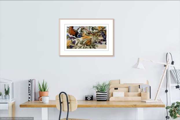(CreativeWork) Blue-Faced Honeyeater, Banksia and Beach Ed. 4 of 100 by Steve Tyerman. Print. Shop online at Bluethumb.