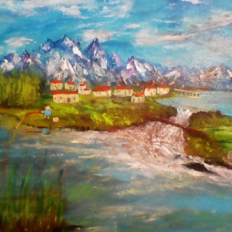 (CreativeWork) Alpine Vacation by Robin Sweeney. Acrylic Paint. Shop online at Bluethumb.