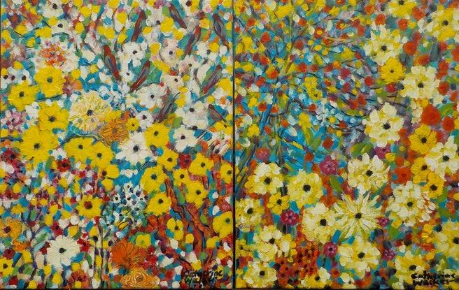 """(CreativeWork) """"Designing gardens for Bees"""" by Catherine Walker. Acrylic Paint. Shop online at Bluethumb."""