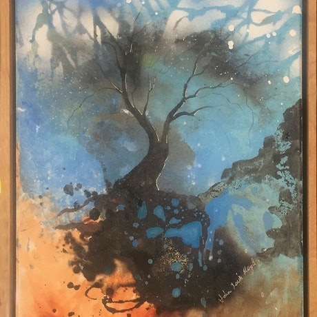 "(CreativeWork) ""Tree of Life  - the cycle"" - small original painting in mixed media  by John Louis Lloyd. Mixed Media. Shop online at Bluethumb."