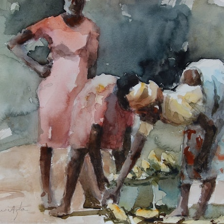 (CreativeWork) Corn Gatherers by Lorraine Lewitzka. Watercolour Paint. Shop online at Bluethumb.