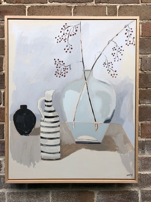 (CreativeWork) Karin's Shop by Sally Browne. Acrylic Paint. Shop online at Bluethumb.