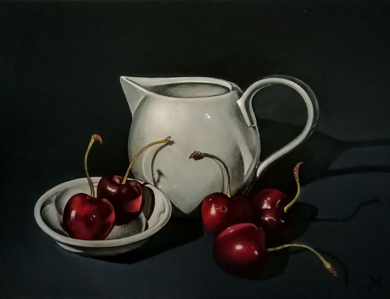 (CreativeWork) Study of cherries by Jenny Albanis. Acrylic Paint. Shop online at Bluethumb.