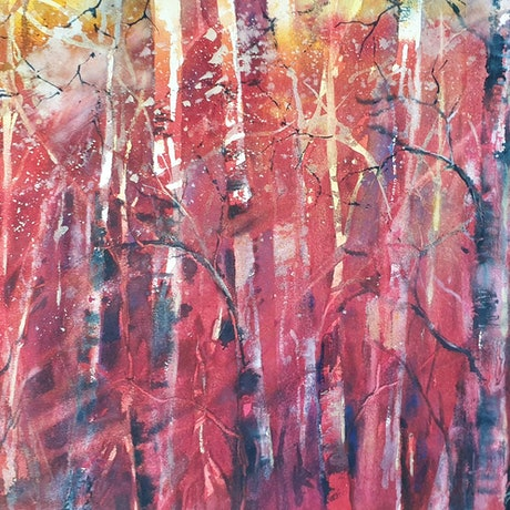 (CreativeWork) AUTUMN FORREST ON FIRE by Anki Wickison. Watercolour Paint. Shop online at Bluethumb.