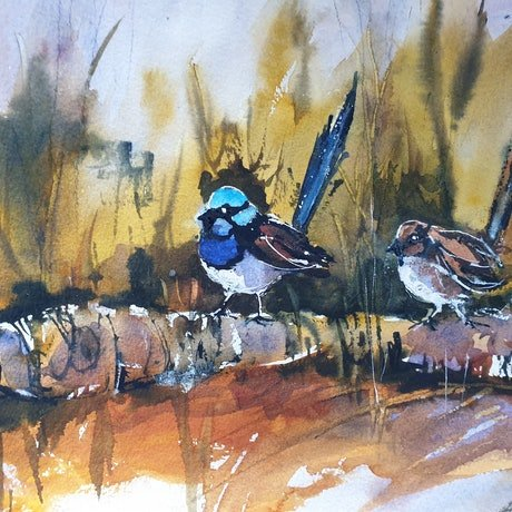(CreativeWork) MR and MRS BLUE by Anki Wickison. Watercolour Paint. Shop online at Bluethumb.