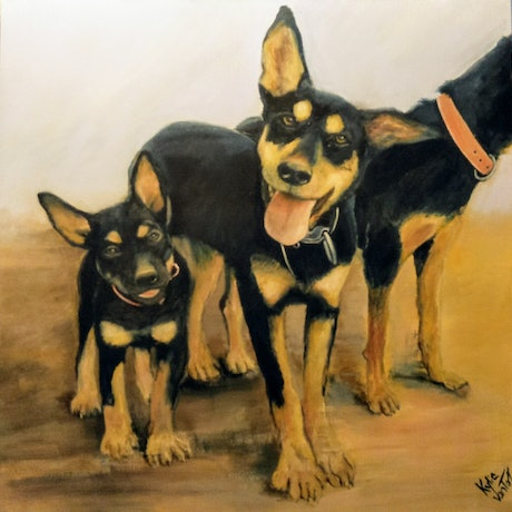(CreativeWork) Family of kelpies by Kylie van Tol. Acrylic Paint. Shop online at Bluethumb.