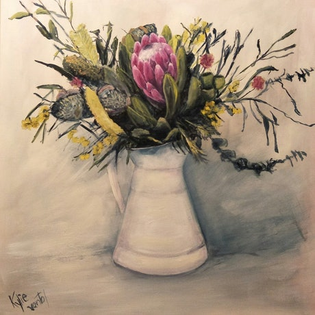 (CreativeWork) Natives in a vase by Kylie van Tol. Acrylic Paint. Shop online at Bluethumb.