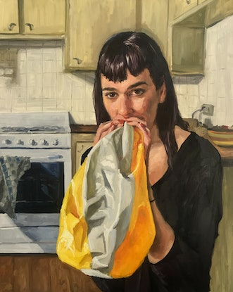 (CreativeWork) Saffron in the kitchen by James Needham. Oil Paint. Shop online at Bluethumb.