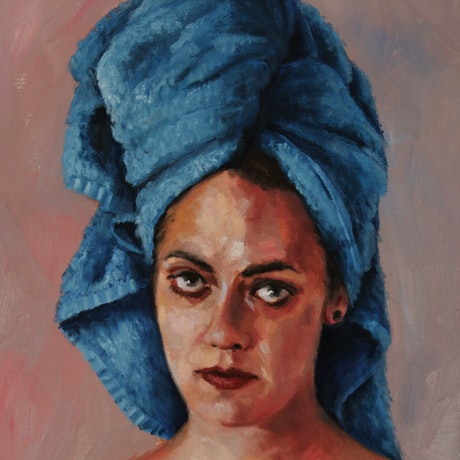 (CreativeWork) Alix in a blue towel by James Needham. Oil Paint. Shop online at Bluethumb.
