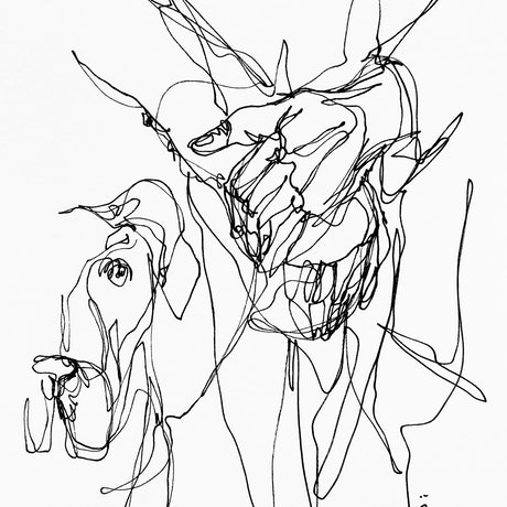 (CreativeWork) Don't Let Go - Man's best friend by Irma Calabrese. Drawings. Shop online at Bluethumb.