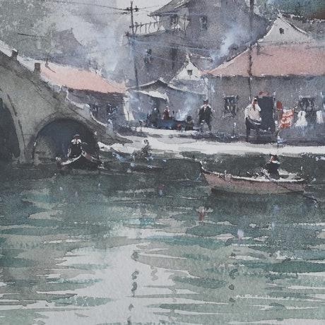 (CreativeWork) Hometown by jianqiang xu. Watercolour Paint. Shop online at Bluethumb.