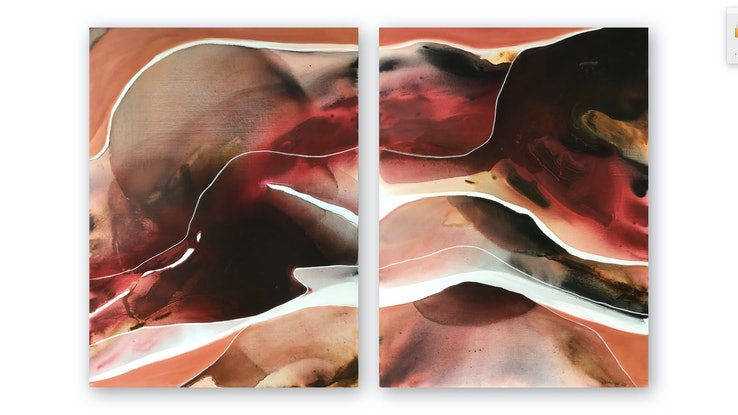 (CreativeWork) Where Flamingos Fly Diptych by Dinah Wakefield. Acrylic Paint. Shop online at Bluethumb.
