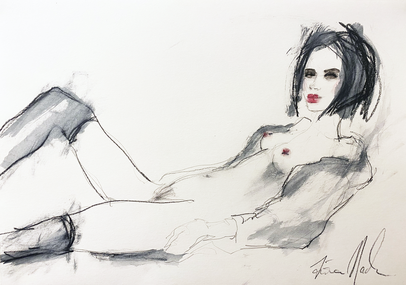 (CreativeWork) Reclining nude homage to Egon Schiele by Fiona Maclean. Drawings. Shop online at Bluethumb.