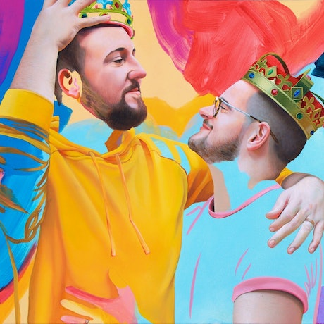 (CreativeWork) Simon and BJ by Kim Leutwyler. Oil Paint. Shop online at Bluethumb.