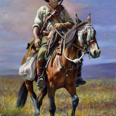 (CreativeWork) THE LIGHT HORSEMAN by Ron and Jennifer Marshall. Oil Paint. Shop online at Bluethumb.