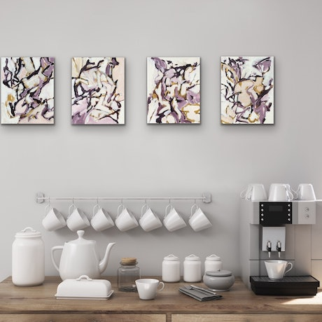 (CreativeWork) At the Orchard - Set of Four by Kathy Best. Acrylic Paint. Shop online at Bluethumb.